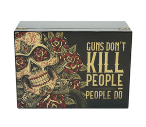 Guns Don't Kill People Do Cigar Humidor 50 Count Closed View Front