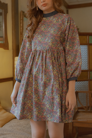 Hiraya Dress (in Dark Blue Floral)
