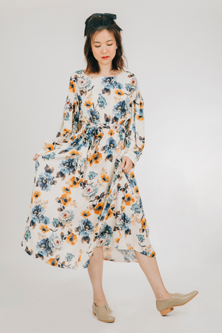 Akap Dress (in Cream/Blue Floral)