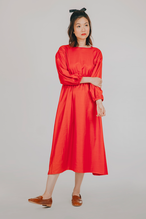 Idlip Dress (in Plain Red)