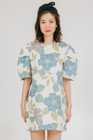 Laro Dress (in Blue Floral)
