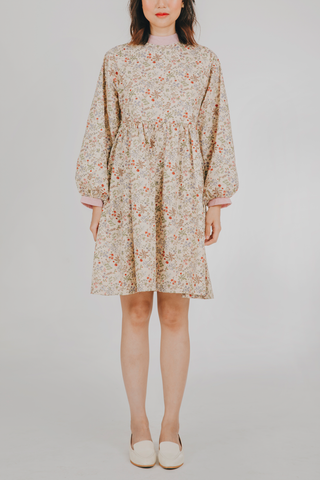 Hiraya Dress (in Beige Floral)