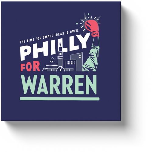 Philly is All In For Warren!! Wrapped Art Canvas