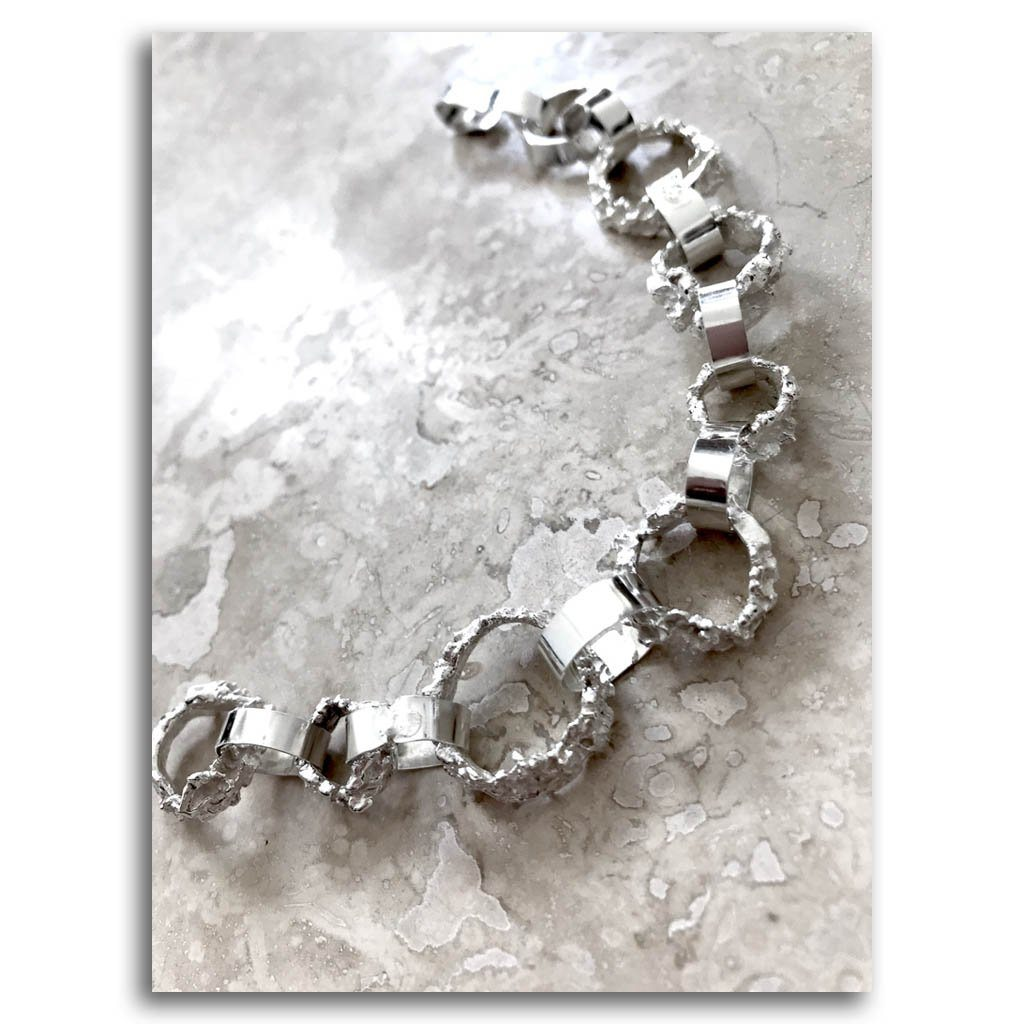Admirable Bracelet #1 Haute Couture .950 Silver Reticulation by Dulce Alba Lindeza