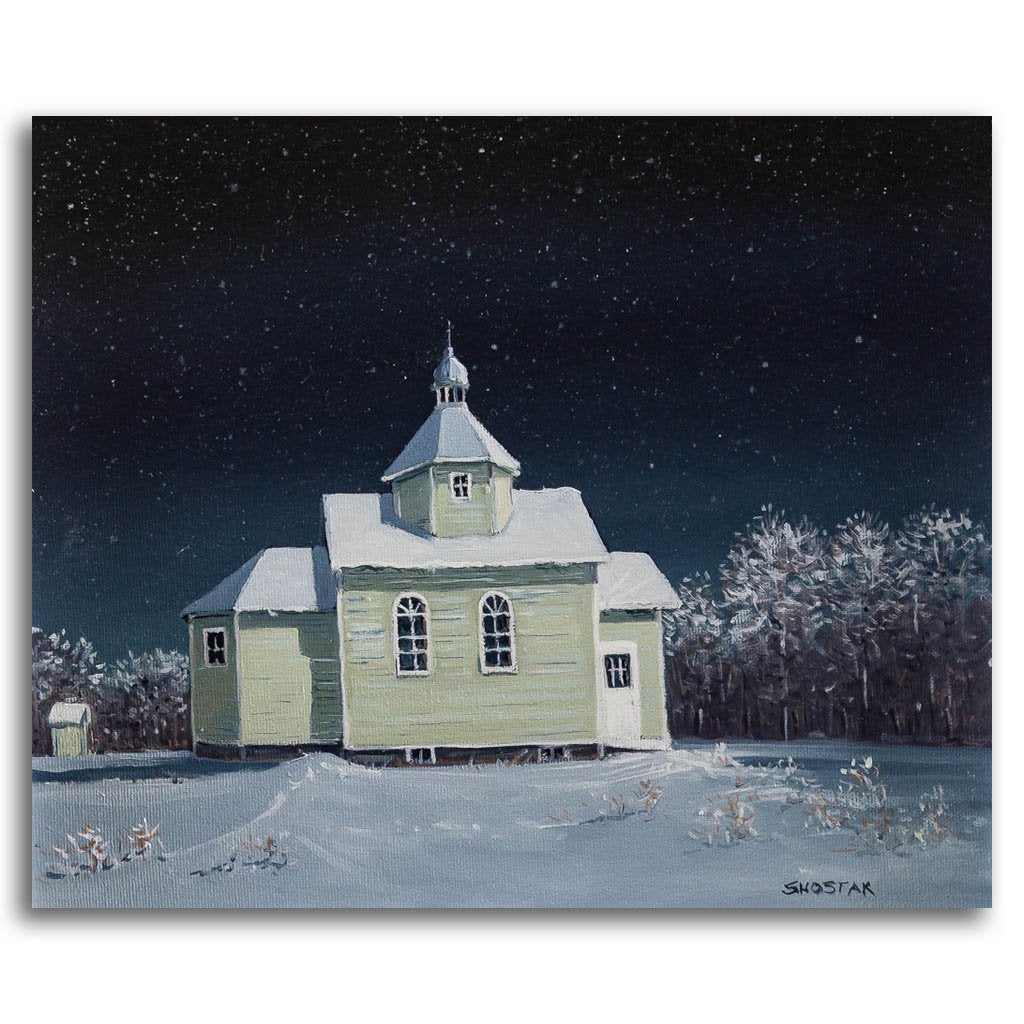 All the neighbours helped build this church Oil on Canvas Peter Shostak