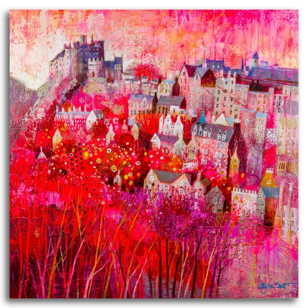 Auld Reekie Acrylic and Mixed Media on Panel by Blythe Scott