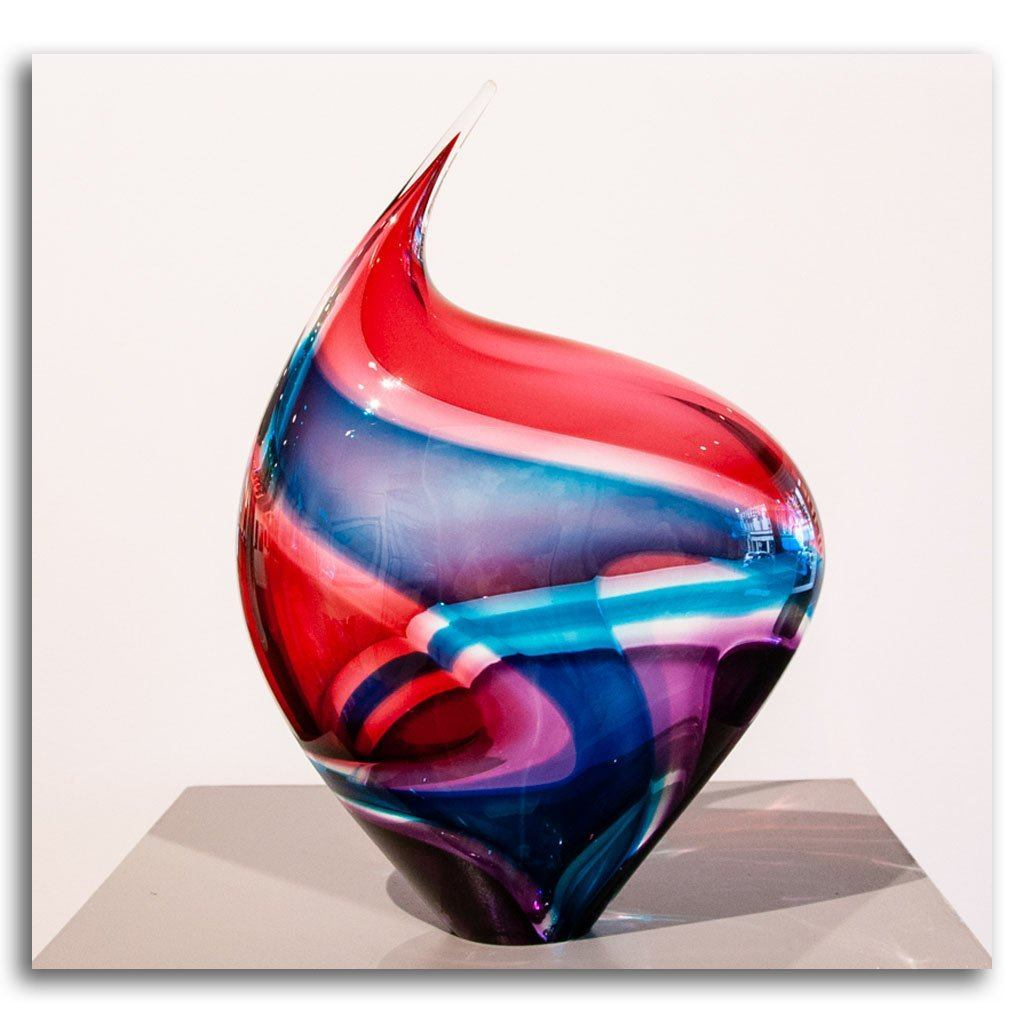 Baby Incalmo Vessel - Aqua, Salmon and Ruby Blown Glass by Paull Rodrigue