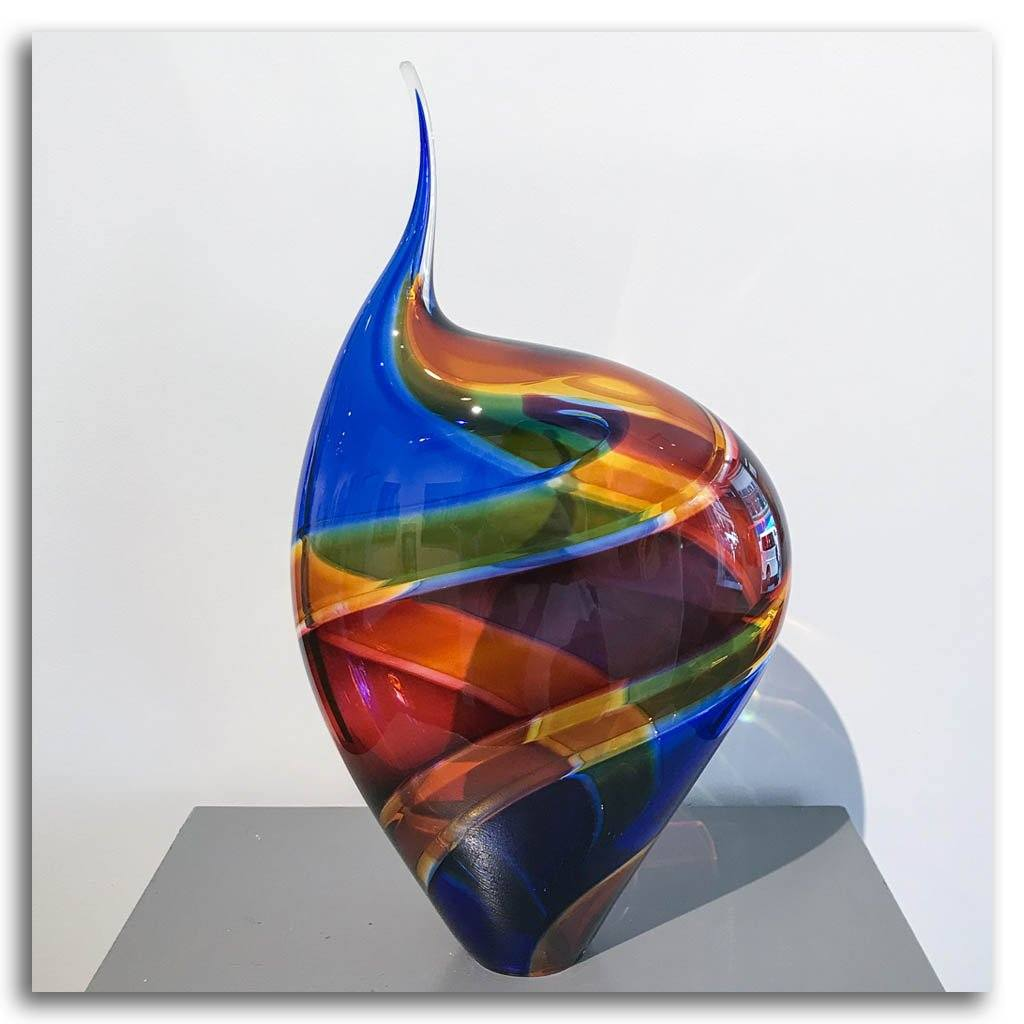 Baby Incalmo Vessel - Blue, Orange, and Red Blown Glass Paull Rodrigue