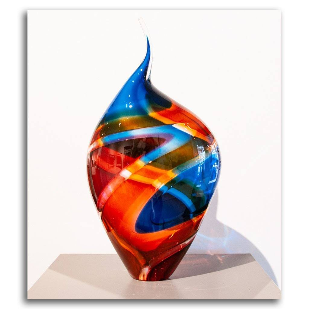 Baby Incalmo Vessel - Blue, Ruby and Purple Blown Glass by Paull Rodrigue