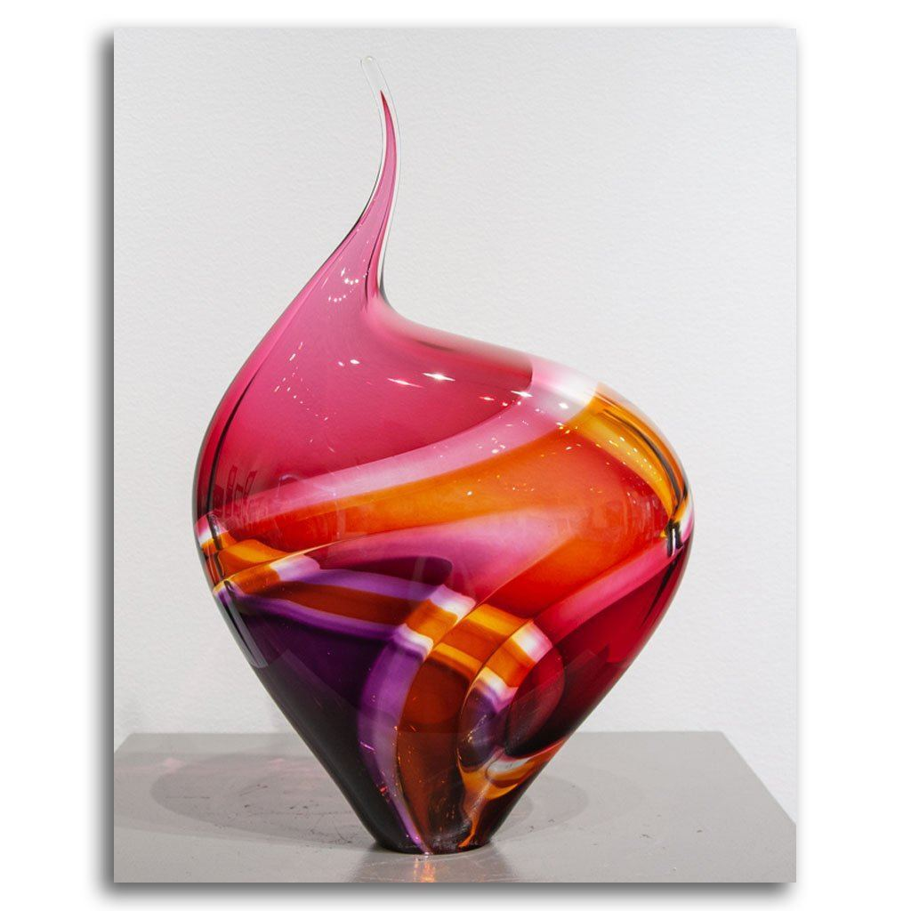 Baby Incalmo Vessel III - Purple, Orange & Red Blown Glass by Paull Rodrigue