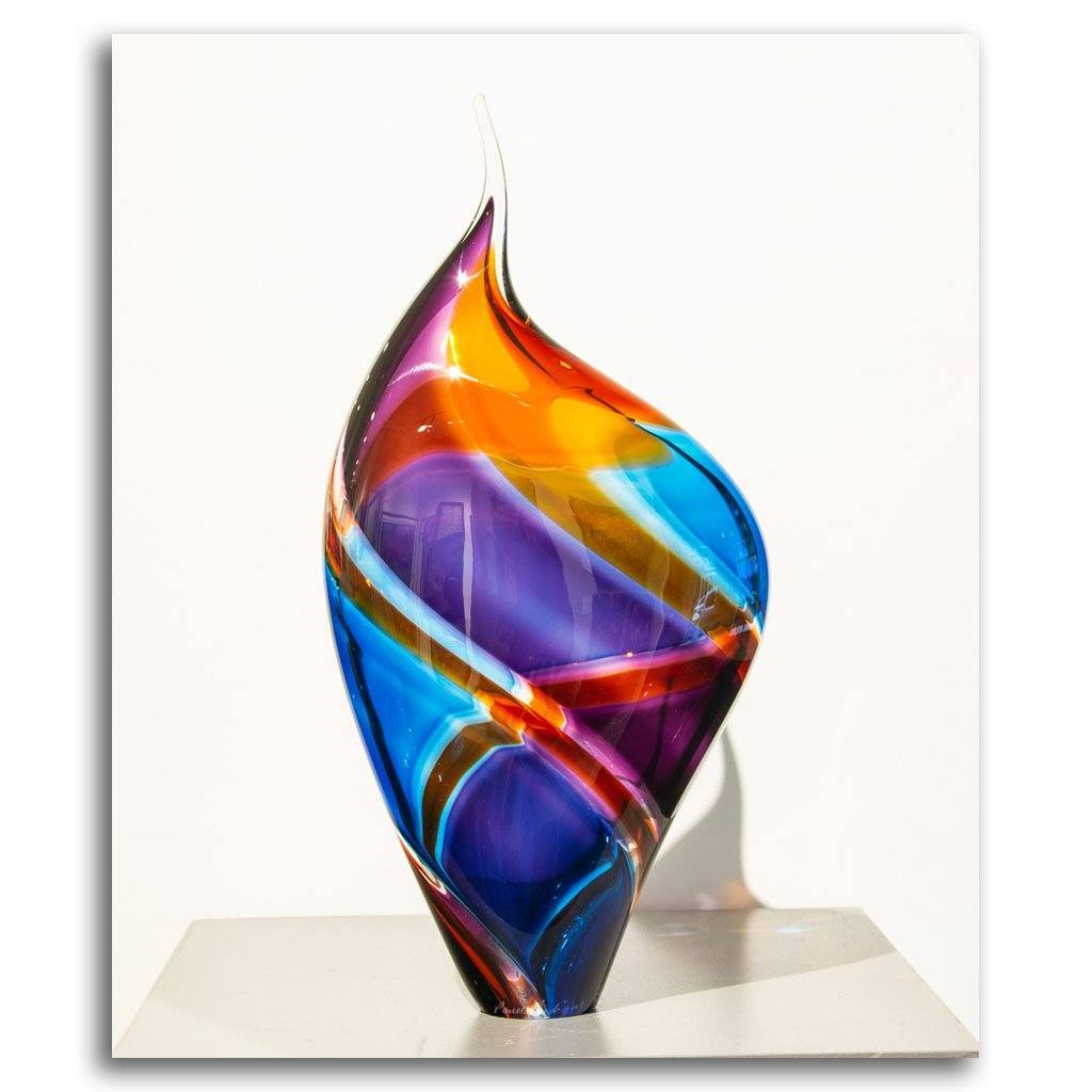 Baby Incalmo Vessel - Purple, Orange, and Blue Blown Glass by Paull Rodrigue