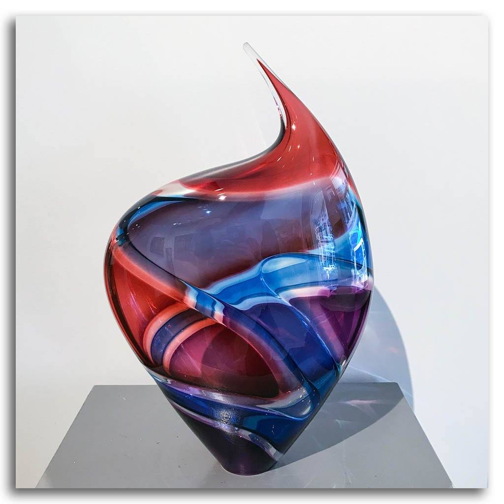 Baby Incalmo Vessel - Red, Blue, and Purple Blown Glass Paull Rodrigue