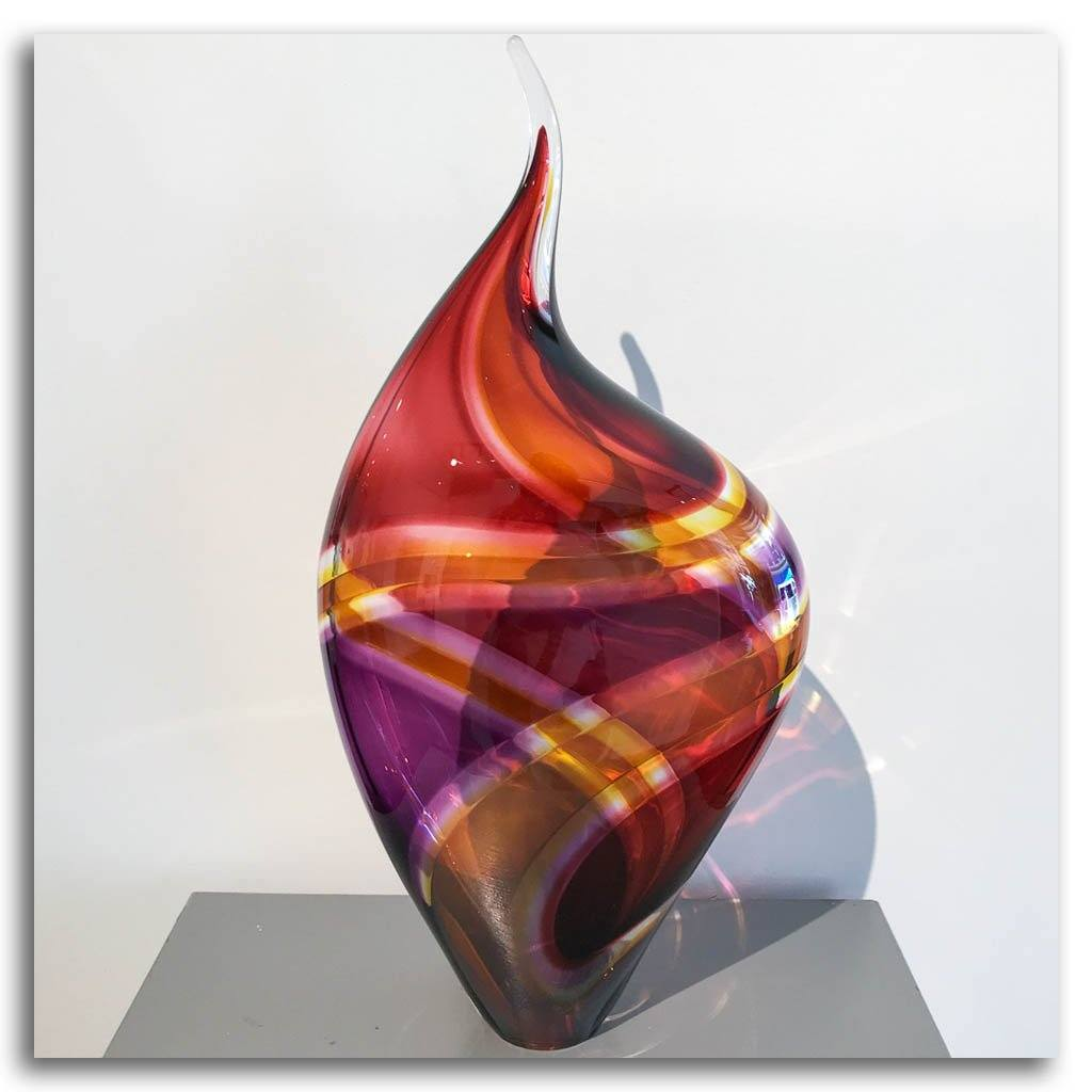 Baby Incalmo Vessel - Red, Orange, and Purple Blown Glass Paull Rodrigue