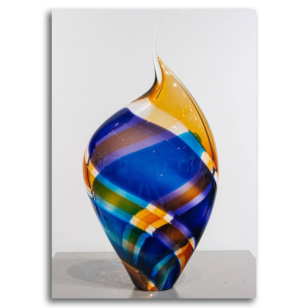 Baby Incalmo Vessel VIII - Blue, Orange & Purple Blown Glass by Paull Rodrigue