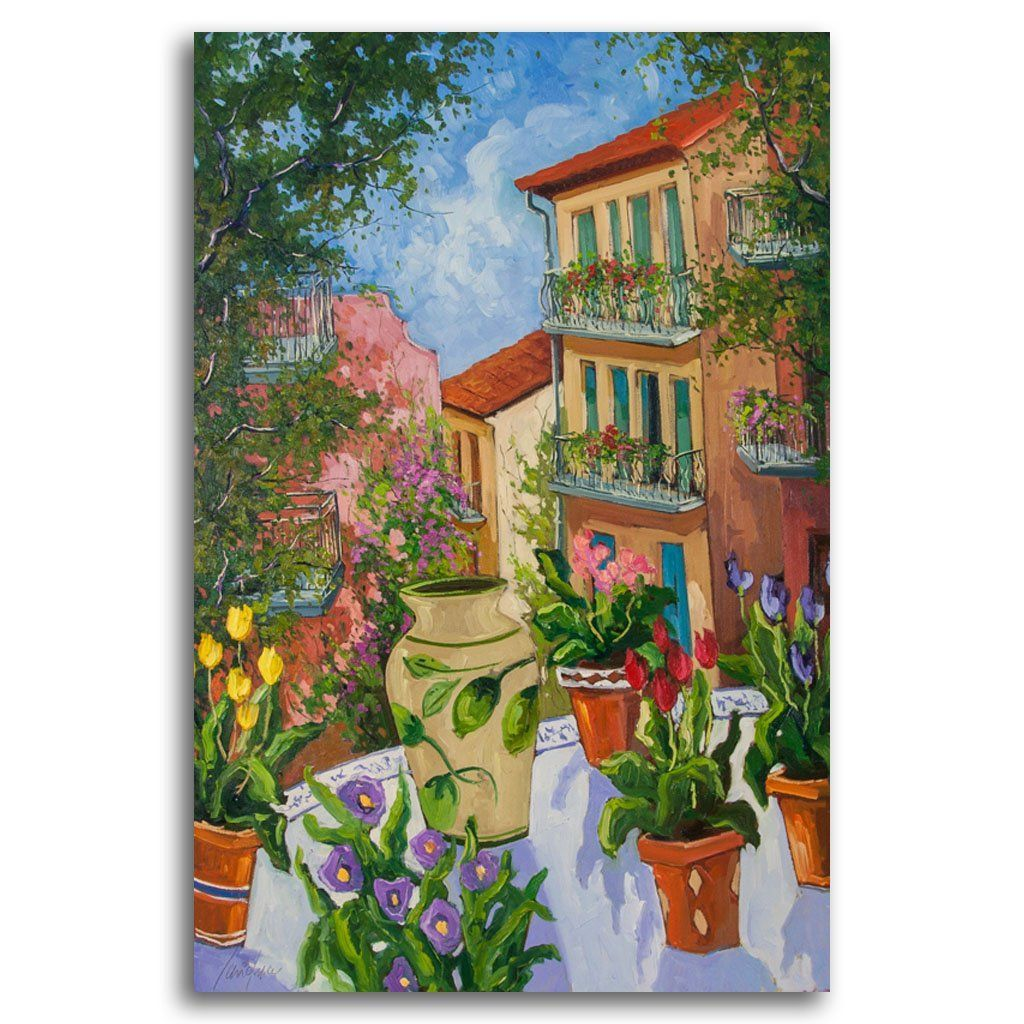 Balcon Fleuris Oil on Canvas by Robert Savignac