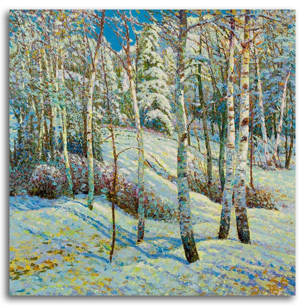 Baton Trail, Winter #5 Acrylic on Canvas by Shi Le
