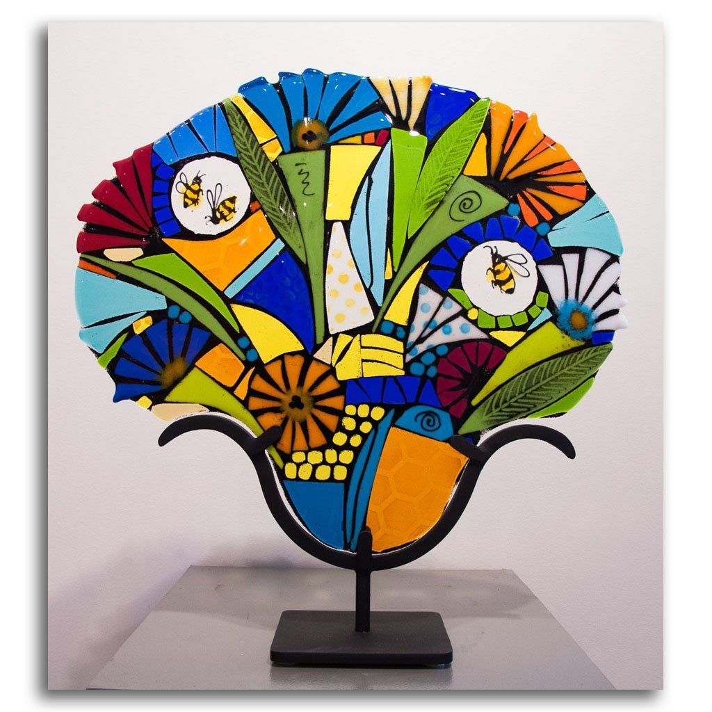 Bee Exuberant Bouquet Hand fused glass with metal stand by Tammy Hudgeon