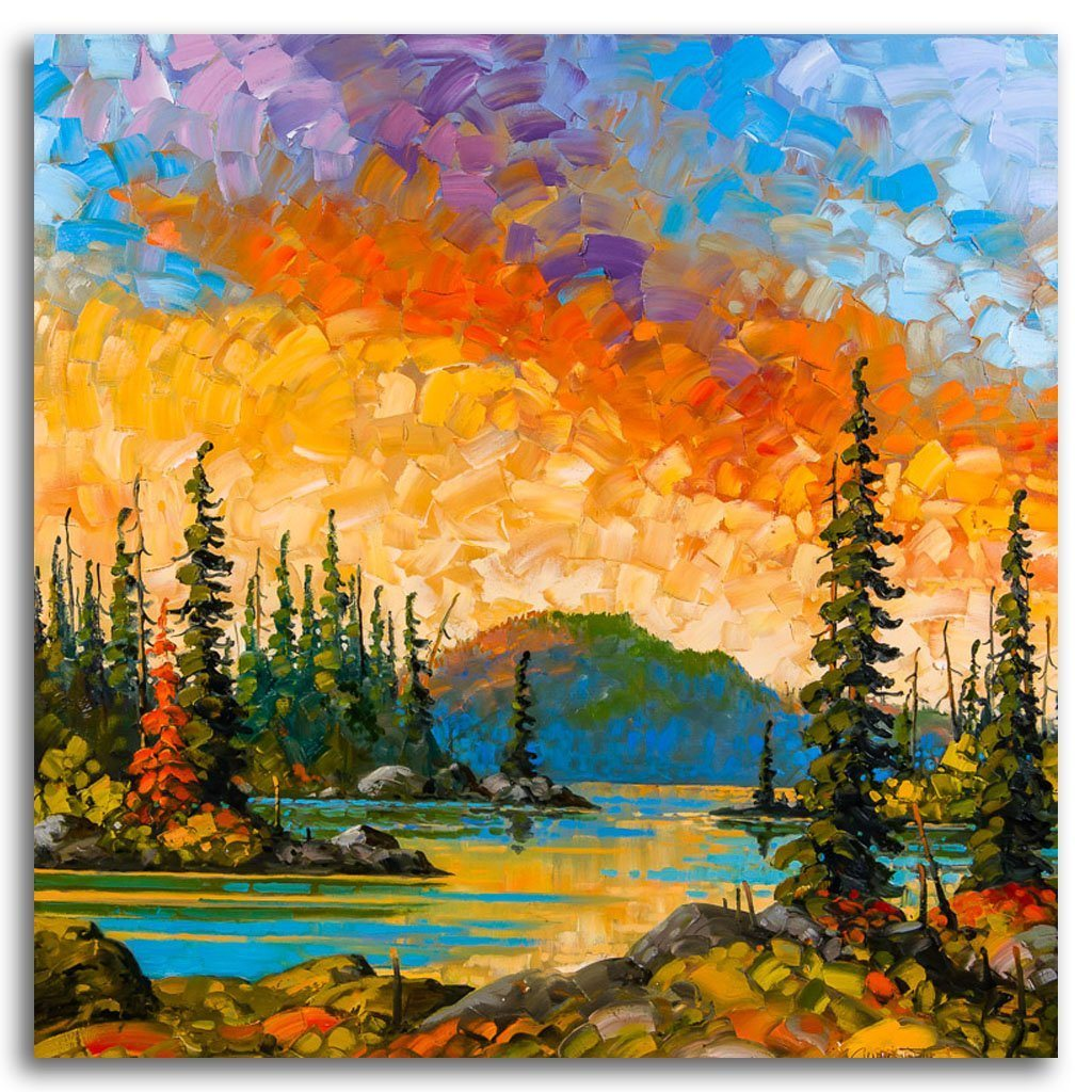 Before Nightfall, Northern Ontario Oil on Canvas by Rod Charlesworth