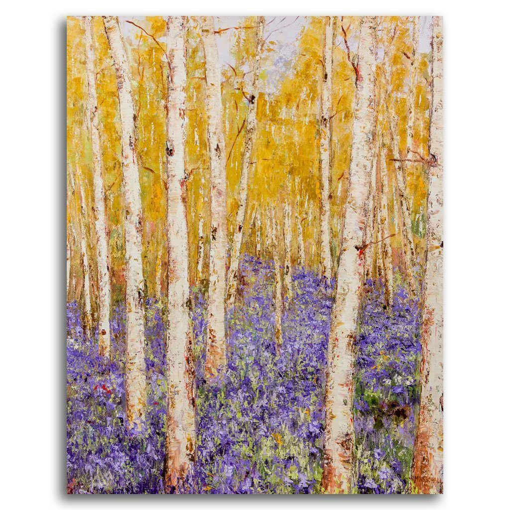 Birch Path Oil on Canvas by Gerda Marschall