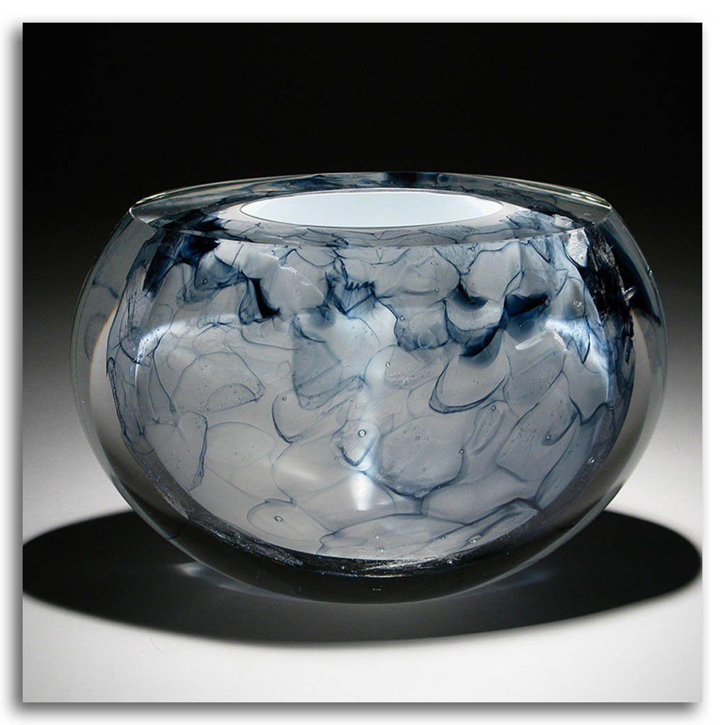 Blue Floating III Cold Worked Blown Glass by Maryse Chartrand