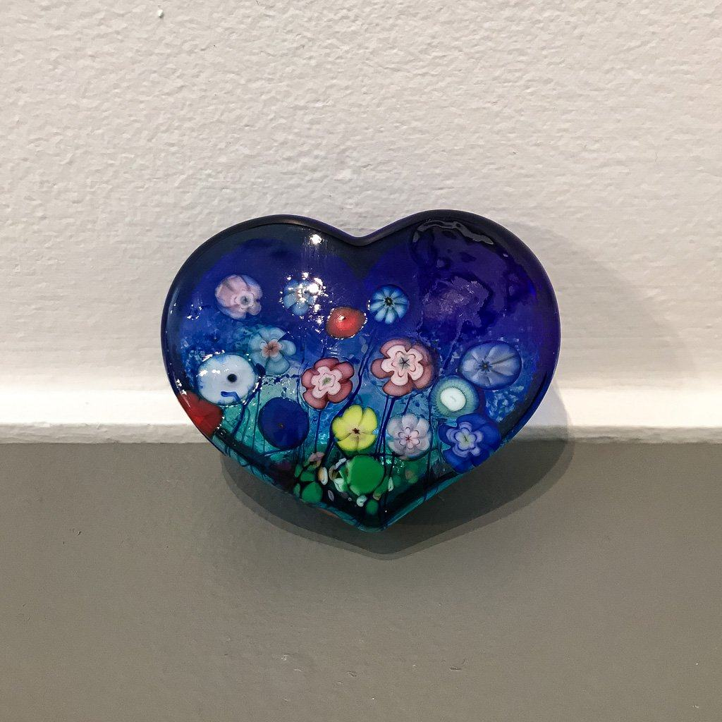 Blue Flower Bouquet Large Heart Paperweight Hot Worked Glass Robert Held