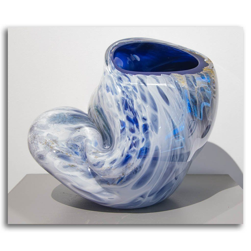 Blue Jetsam #1 Cold Worked Blown Glass by Maryse Chartrand