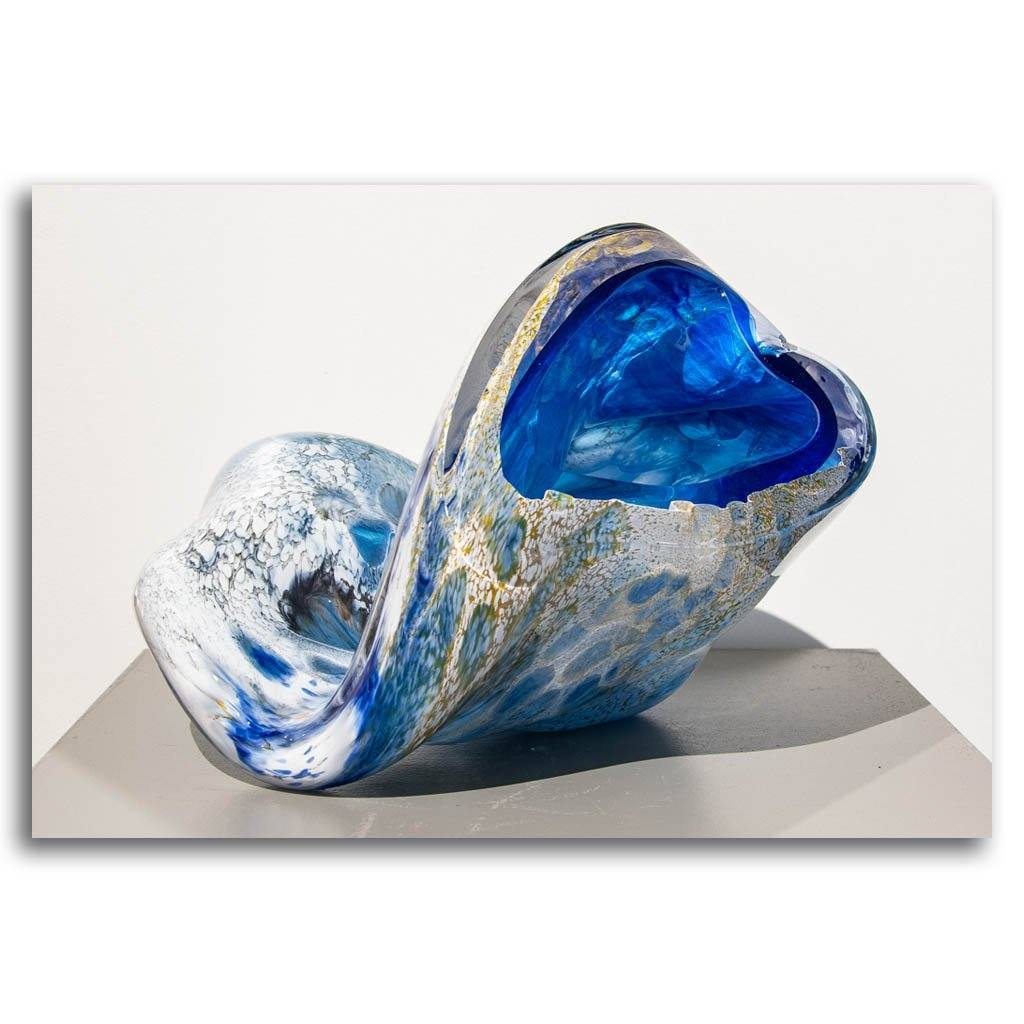 Blue Jetsam #2 Cold Worked Blown Glass by Maryse Chartrand
