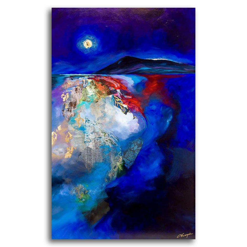 Blue Moon Mixed Media on canvas by Annabelle Marquis