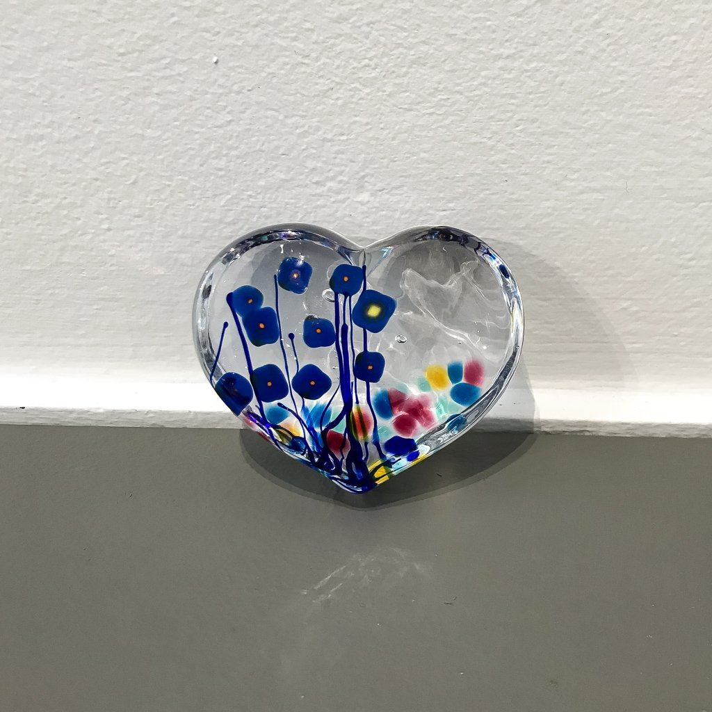 Blue Poppy Large Heart Paperweight Hot Worked Glass Robert Held