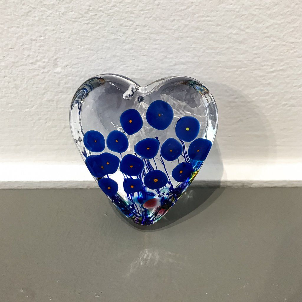 Blue Poppy Small Heart Paperweight Hot Worked Glass Robert Held