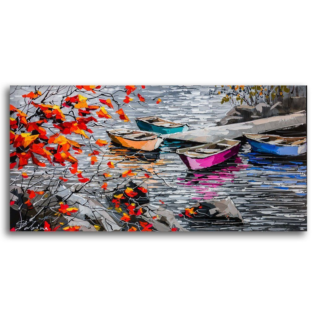 Boats at the Pier Acrylic on Canvas by Sabina