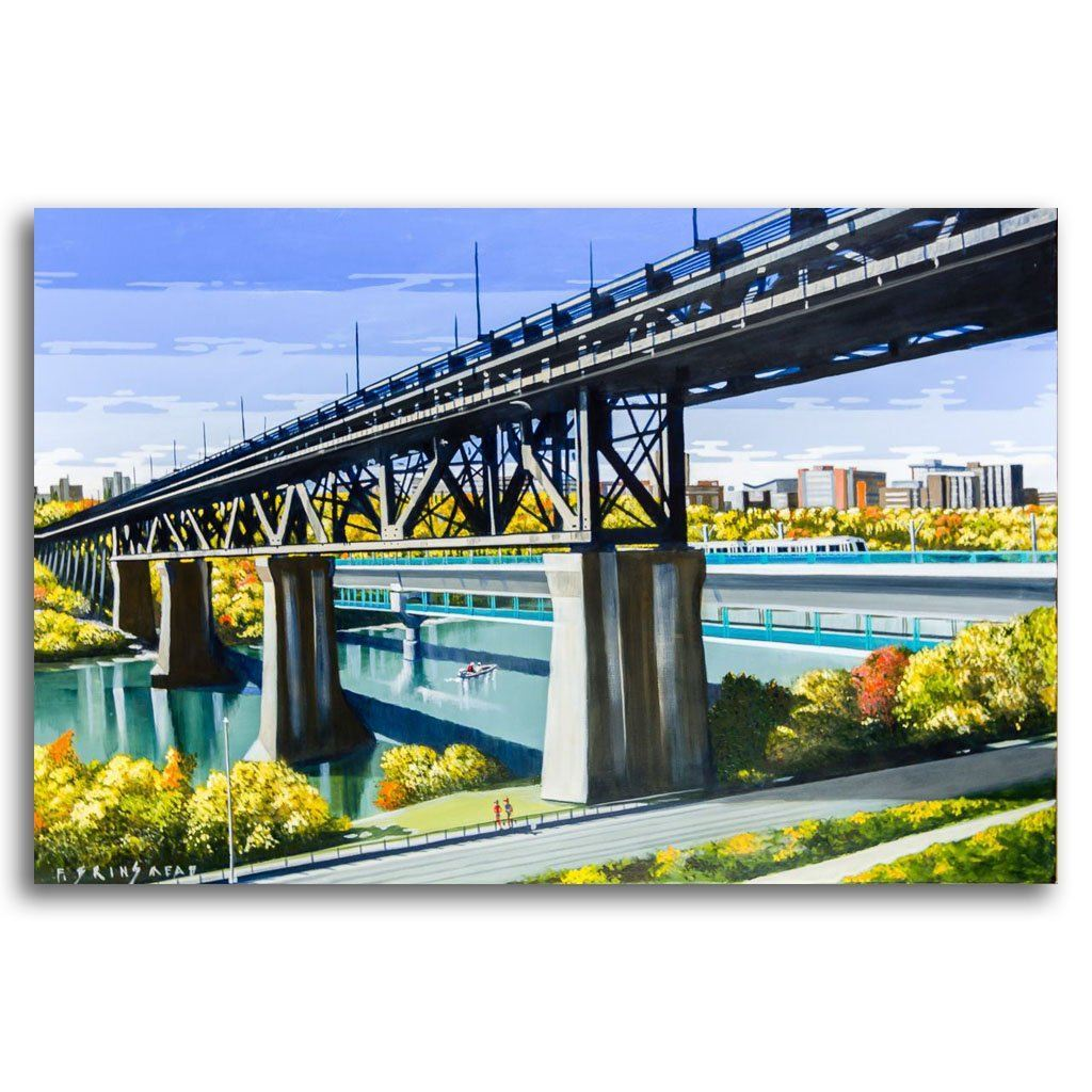 Bridges and the U of A Acrylic on Canvas by Fraser Brinsmead