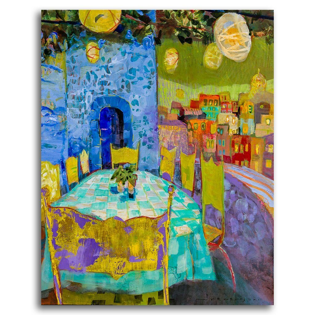 Cinque Terre Table Acrylic on Canvas by Paul Jorgensen