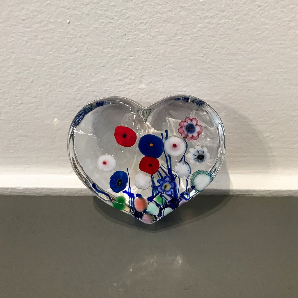 Clear Flower Bouquet Large Heart Paperweight Hot Worked Glass Robert Held