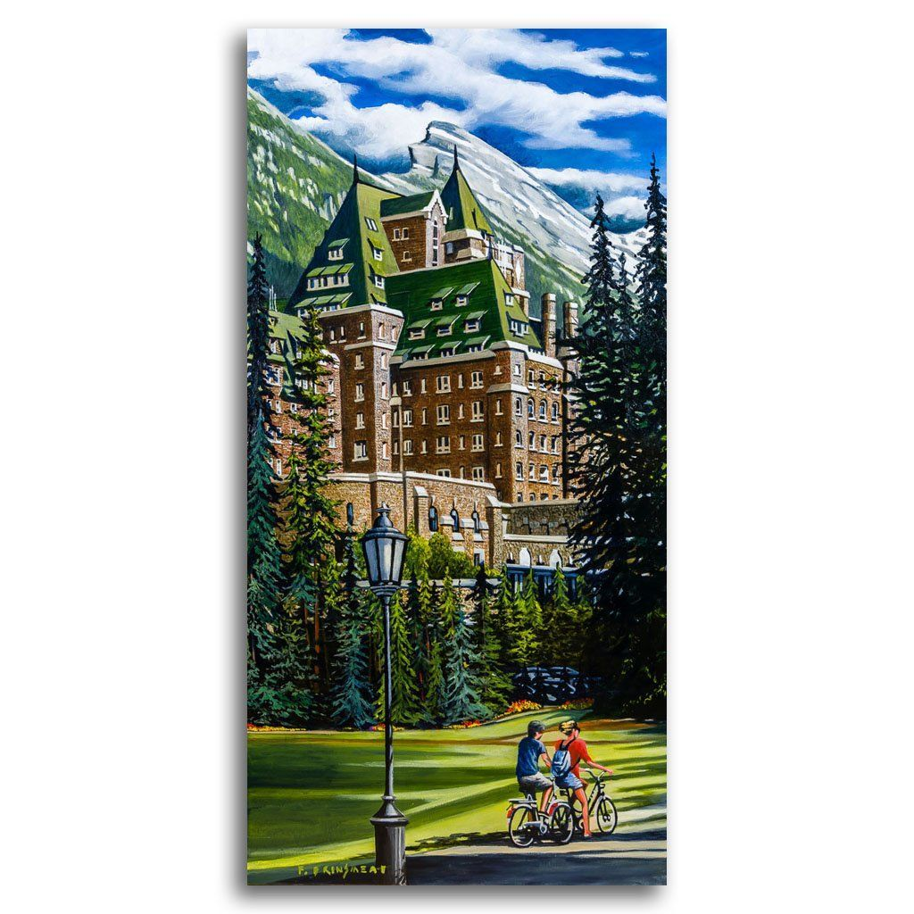 Cycling by the Banff Springs Acrylic on Canvas by Fraser Brinsmead