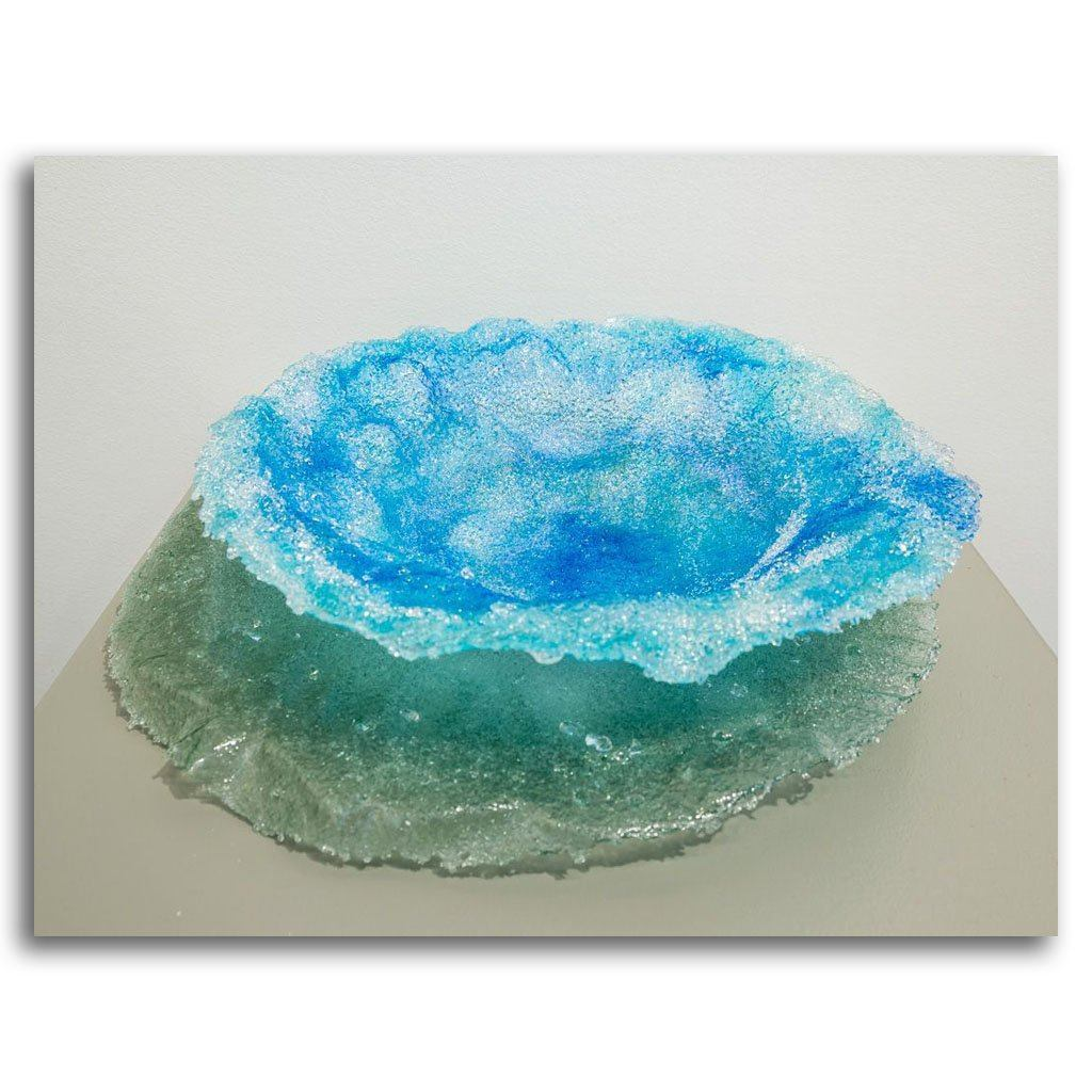 Dappled Sea Light Cannikin Pate de verre by Kathleen Black