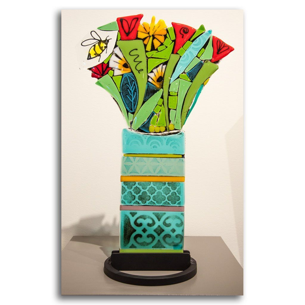 Flower Bouquet I Hand fused glass with metal stand by Tammy Hudgeon