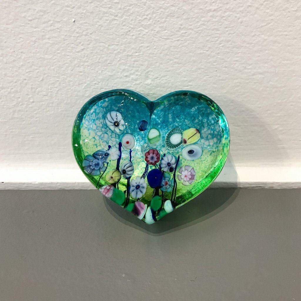 Flower Bouquet Large Heart Paperweight Hot Worked Glass Robert Held
