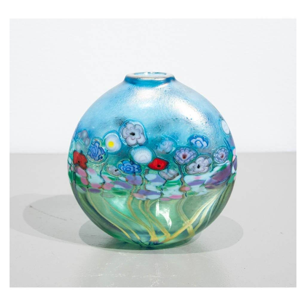 Flower Bouquet Small Round Flat Vase Hand Blown Glass by Robert Held