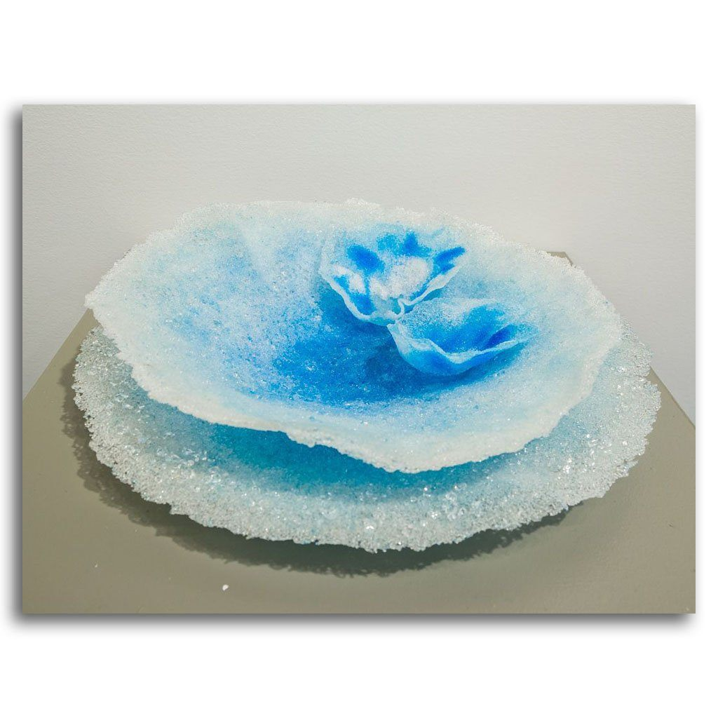 Flowering Blue Lotus Pate de verre by Kathleen Black