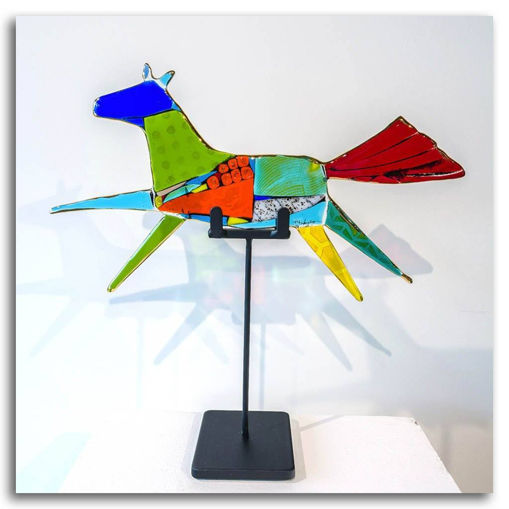 "Flying Horse ""Corinne"" Hand fused glass with metal stand by Tammy Hudgeon"