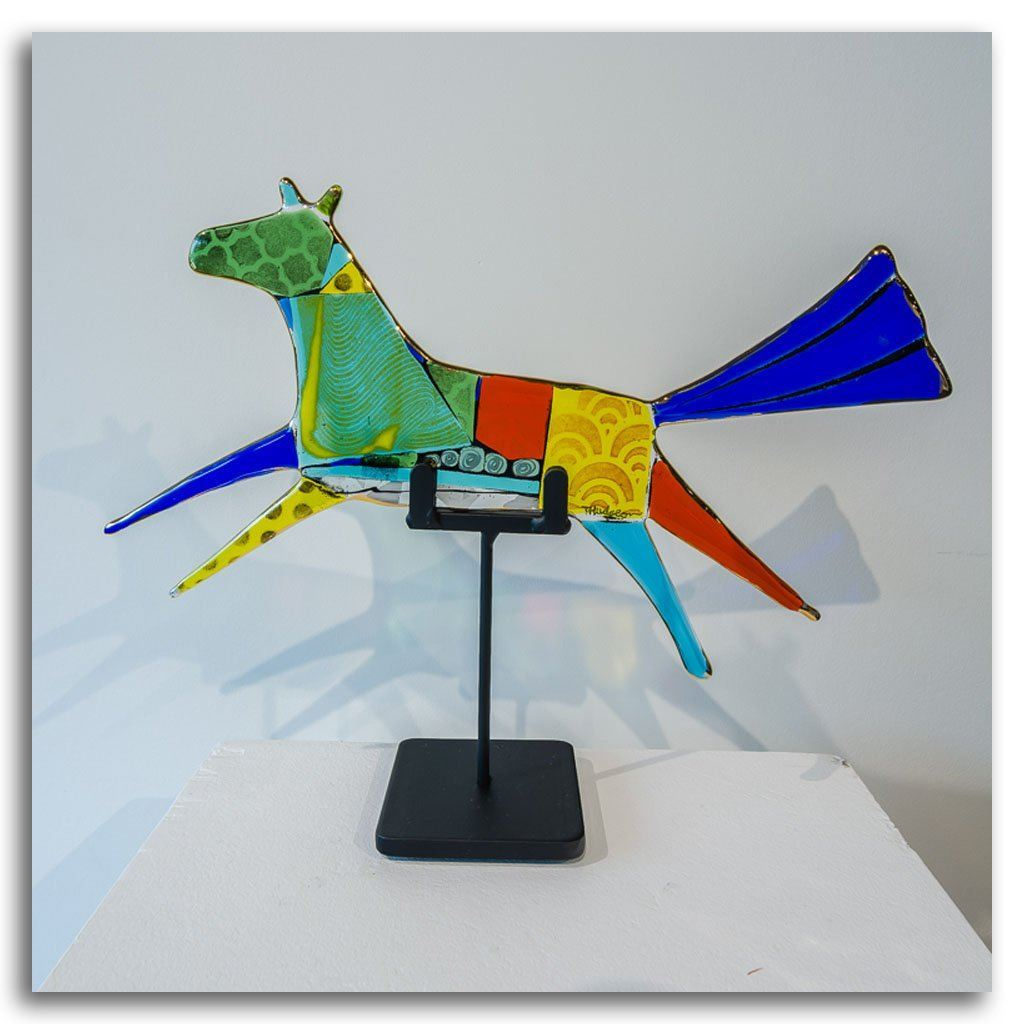 "Flying Horse ""Misty"" Hand fused glass with metal stand by Tammy Hudgeon"