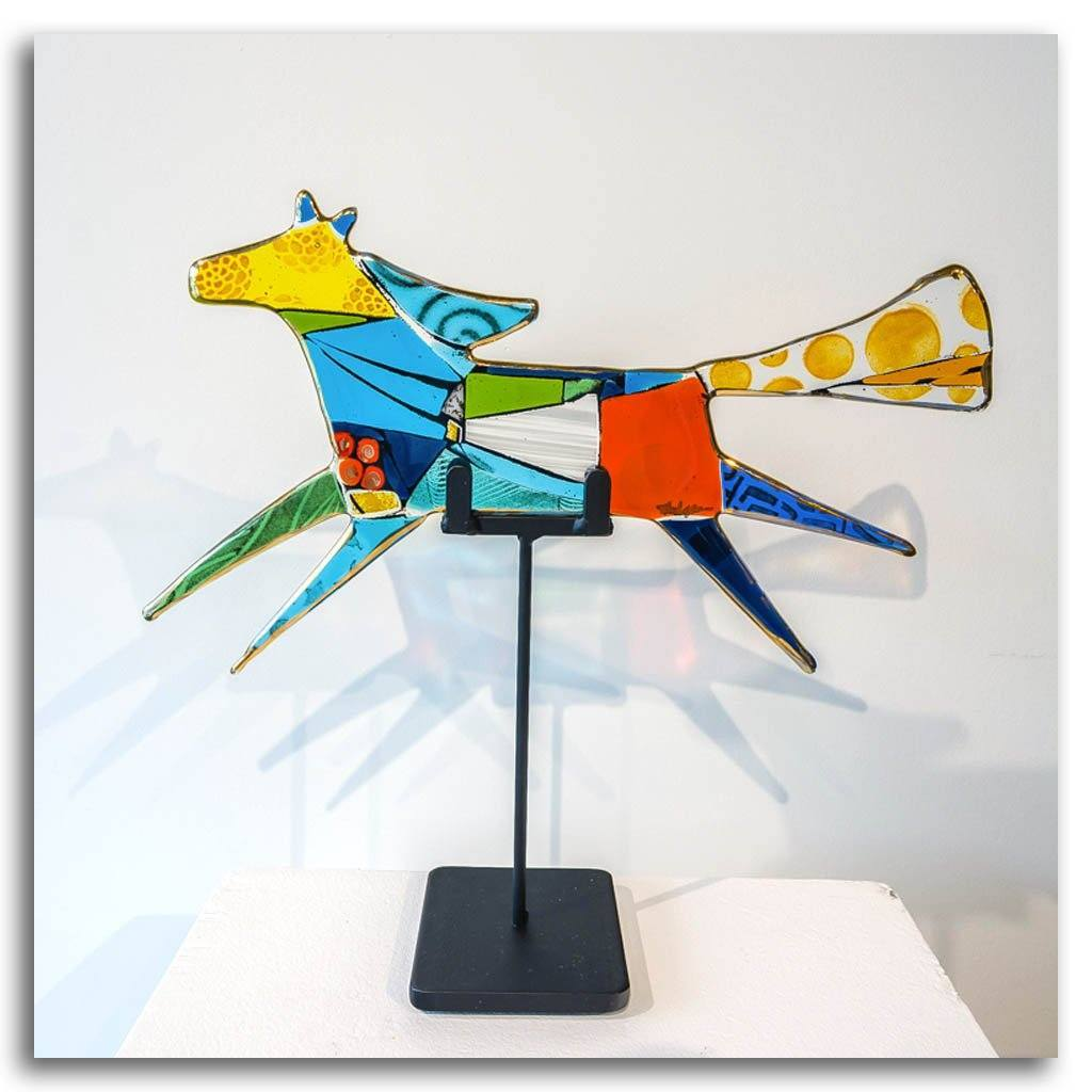 "Flying Horse ""Stella"" Hand fused glass with metal stand by Tammy Hudgeon"
