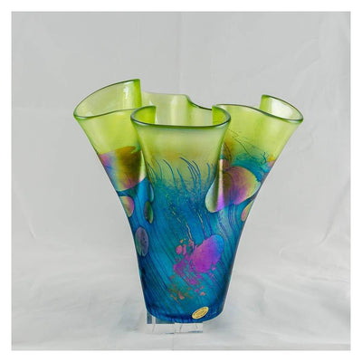 Giverny Handkerchief Vase, Medium Hand Blown Glass by Robert Held
