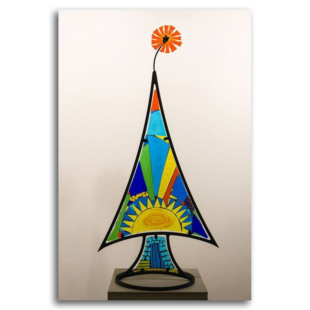 Glorious Day Tree Hand fused glass with metal stand by Tammy Hudgeon
