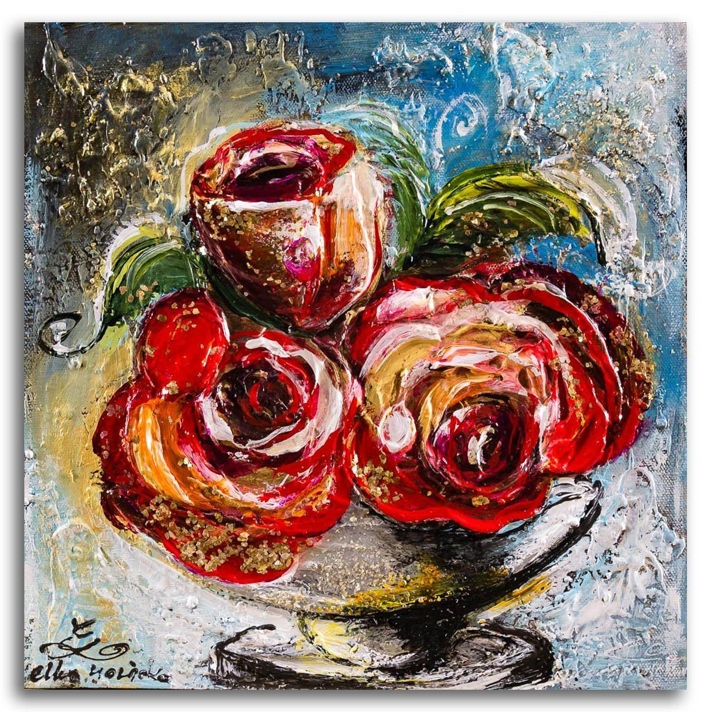 Gold Dust and Red Roses Mixed Media on canvas Elka Nowicka