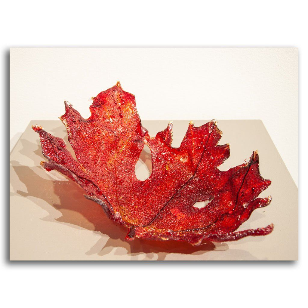 Gold Tipped Big Maple Pate de verre by Kathleen Black