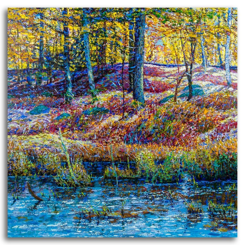 Golden Autumn A Acrylic on Canvas by Shi Le