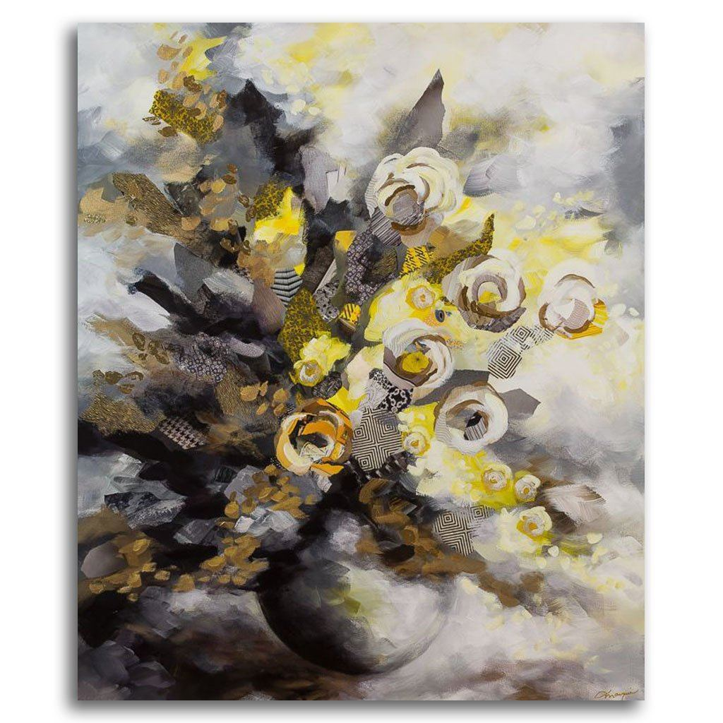 Golden Bouquet Mixed Media on canvas by Annabelle Marquis