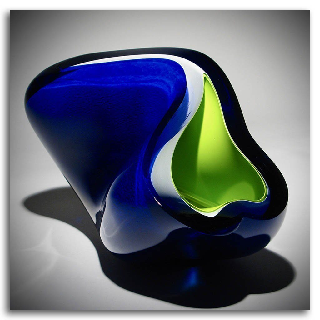 Green and Blue Momentum Cold Worked Blown Glass by Maryse Chartrand